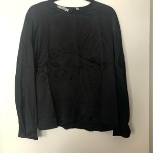 VINCE Black Silk Blouse Sz M